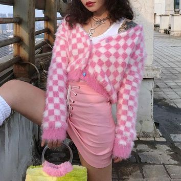 Women's Check Cardigan Pink & White Mohair Long Sleeve Heart-Shape Button Up Cropped Knit Sweaters e-Girl Outfit /
