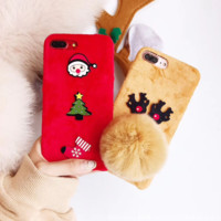 Cute Christmas Fluffy Deer Phone Cover Case For iPhone X 7 8 Plus 6 6S Plus