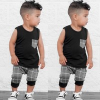Popular Children's Clothes Set Infant Toddler Baby Boys Girl Clothing Plaid Tops T Shirt Vest Shorts Outfits Clothes Set Costume