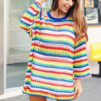 New color circular neck loose medium length sweater