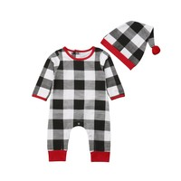 Xmas Infant Baby Boy Girl Clothing Romper Long Sleeve Plaid Cotton Cute Jumpsuit Hat Clothes Outfit Sets Baby Boys 0-24M