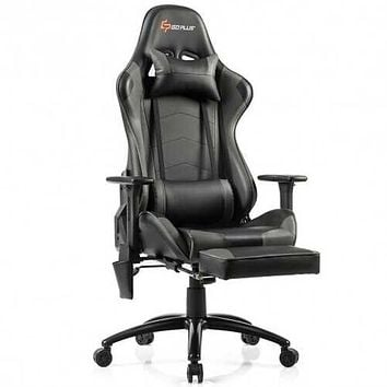 Ergonomic High Back PU Leather Massage Gaming Chair-Gray - Color: Gray
