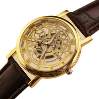 Hollow Skeleton Classical Luxury King watch Gold Silver leather personality leisure quartz watch women men 2016 Relogio top sell