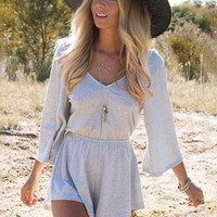 Solid Color Tasseled V-Backless Romper