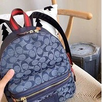 Coach 2020 new chambray denim blue canvas backpack bag