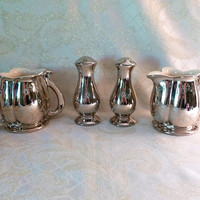 22KT Platinum Rose Pattern Hand Decorated Pearl China Company USA Vintage Special Occasion Or Wedding Accessories Four Piece Set  Beautiful