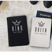 King queen couple Passport covers passport holders passport wallet matching passport covers honeymoon wedding gift christmas gift