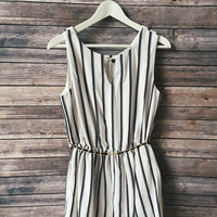 Vertical Striped Romper (White)