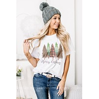 Multi Printed Christmas Trees Graphic Tee