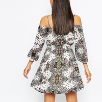River Island Off The Shoulder Mini Dress In Paisely Print