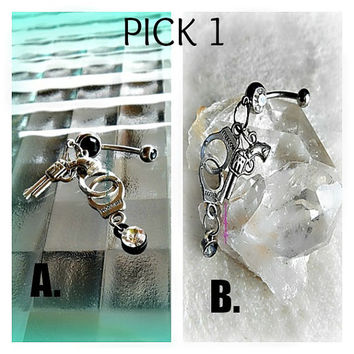 PICK 1 Belly Ring, Gun and Handcuffs,Black or Clear,Belly Button Jewelry,Navel Piercing,Beachwear,Beach Belly,Ready to Ship,Direct checkout