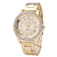 Womens Sports Gold Alloy Strap Watch Girls Fashion Casual Luxury Watches Best Gift