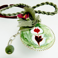 Glass mounted marbling, silk flowers, needlework, designer necklace, shades of green and burgundy color,  64 cm  handmade necklace,