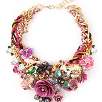 Night Market floral bib necklace