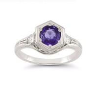Roman Art Deco Amethyst and White Topaz Ring in .925 Sterling Silver