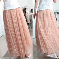 Incredible Women's Girls Tulle Puffy Full-length Long Maxi Skirt Skirts Dresses