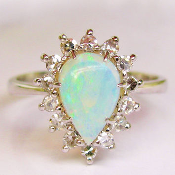 Vintage Pear Shaped Opal and Diamond Ring Alternative Engagement Ring 14K White Gold Basket Setting October Birthstone Ring!