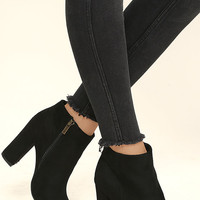 Means So Much Black Suede Peep-Toe Booties