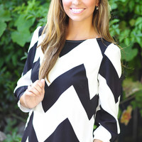 Wild Wide Chevron Top: Black | Hope's
