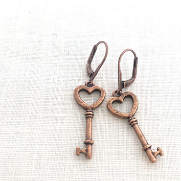 Skeleton Key Earring, Copper Key Jewelry, Heart Key Dangle, Leverback Earring, Girlfriend Gift, Key to My Heart, 595