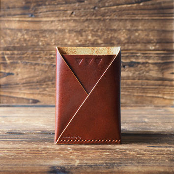 Leather Folded Card Wallet #Whiskey Brown