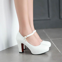 New Women's High Heels Pumps Sexy Bride Party Thick Heel Round Toe White High Heel Shoes for office lady Women
