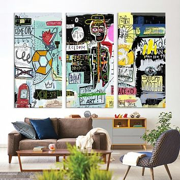 Basquiat Canvas Painting Large Abstract Wall Art Canvas Print