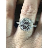 SALE A perfect 4CT Round Cut Halo Russian Lab Diamond Engagement Ring