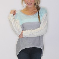 crew neck color block sweater - Riffraff