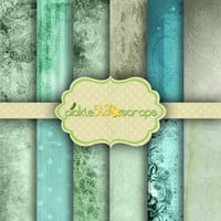 Ocean Floral - 12 Digital Scrapbook Papers - 12x12inch - Printable Shabby Blue Green Ocean themed Background Paper -  INSTANT DOWNLOAD