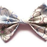 BIG Floral Hair Bow - White with blue and brown floral pattern