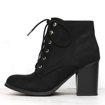 Suede Lace-Up Ankle Booties - Black