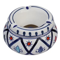"Ceramic Ashtray with Lid - Moroccan Handmade Ash Tray 4.6"" Outdoors & Indoors Decorative Hand Painted Ceramic Smoking Smoke Ashtray with 3 Cigarette Holder Slots Office Bar Patio Garden Decor"