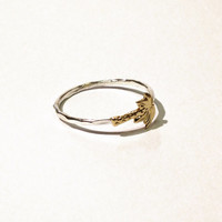 Palm tree ring - Sterling silver and tiny gold brass palm tree ring - stacking ring - knuckle ring - midi ring
