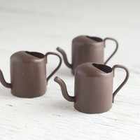 Fairy Garden Watering Cans - Rustic Miniature Metal Tools, Set of 3
