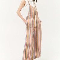 Multicolor Striped Linen-Blend Overalls