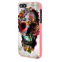 Floral Sugar Skull iPhone 5 Case Framed Pink