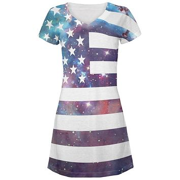 Galaxy American Flag All Over Juniors V-Neck Dress