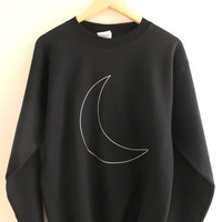 Silver Metallic Moon Black Crewneck Sweatshirt