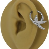 Sparrow Captive Ring 20g-18g-16g-14g Cartilage Earring-Steel CBR-Swallow Nipple Ring-Bird Helix Earring