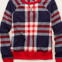 Aerie Women's Plaid Sweatshirt (Navy)