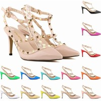 Shoes Woman Zapatos Mujer High Heels Thin Heels Pointed Toe Pu Casual Slip-on Basic Rivet Pointed Splice Hollow Pumps