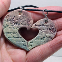 Friendship necklaces Set of 2 Friendship Quote heart