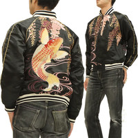 223123 carp pattern men satin sum pattern gift jacket black is new to mechanism soul ska Jean wisteria