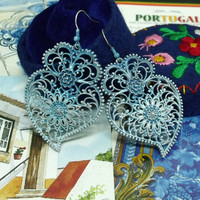 Portuguese folk Blue heart Viana rose earrings made in Portugal jewelry filigree type handpainted art