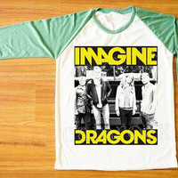 Imagine Dragons T-Shirt Alternative Rock T-Shirt Green Sleeve Tee Shirt Women Tee Shirt Men Tee Shirt Unisex Shirt Baseball Tee Shirt S,M,L