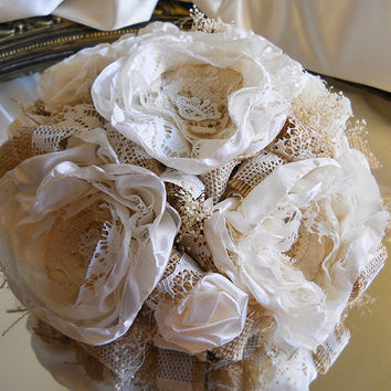 """10"""" Burlap and Vintage Lace Wedding Cake Topper with matching garlands. Burlap, vintage lace, peony fabric flowers and babies breath."""