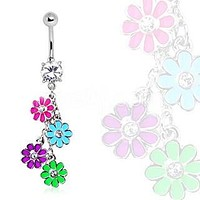 Navel Ring with Multi Color Daisy Dangle