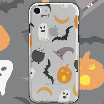 Halloween Clear Phone Case - Clear Case-For iPhone 8, 8 Plus, X, iPhone 7 Plus, 7, SE, 5, 6S Plus, 6S,6 Plus, Samsung S8,S8 Plus,Transparent