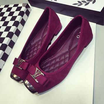 Louis Vuitton LV Bow Women Fashion Leather Low Heel Shoes